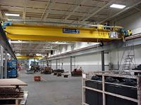 Typical large capacity, short span, double girder cranes with runways.